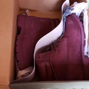 Timberland burgundy construction boots